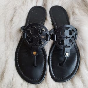 Tory Burch Black Smooth Matte Millers Size 7.5M